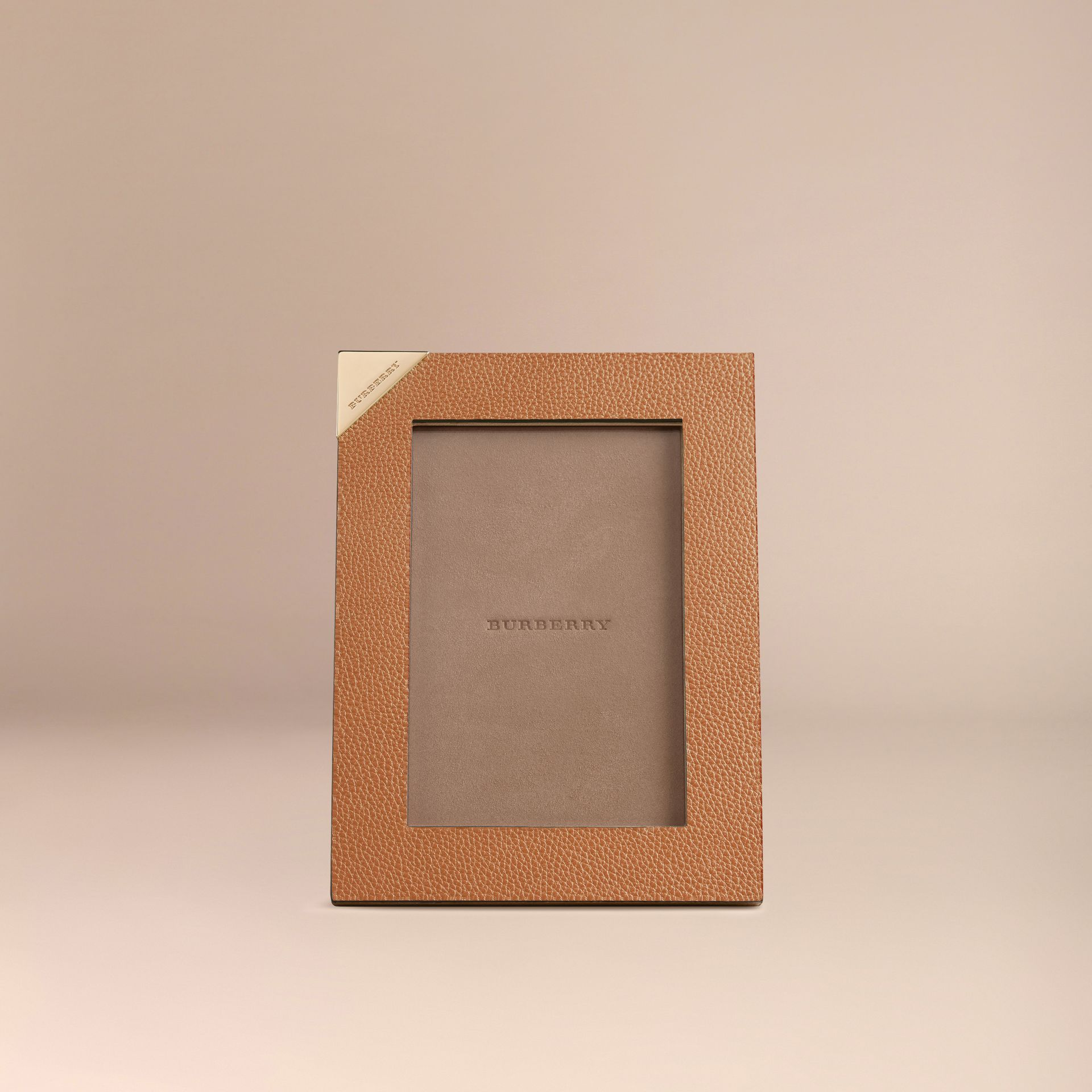 Tan Small Grainy Leather Picture Frame - gallery image 2