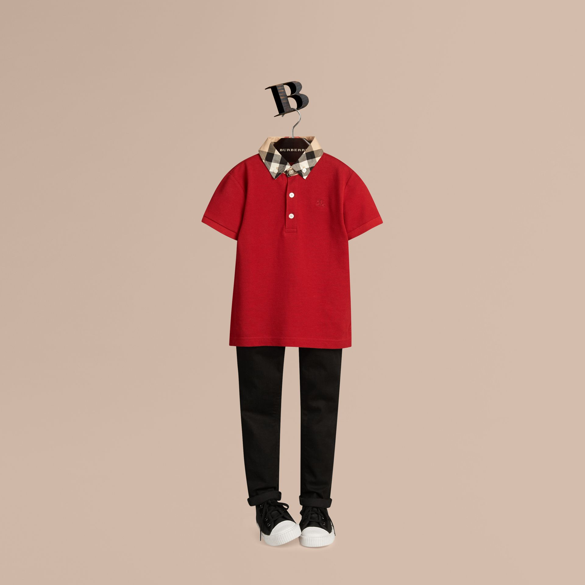 Check Collar Polo Shirt in Military Red - gallery image 1