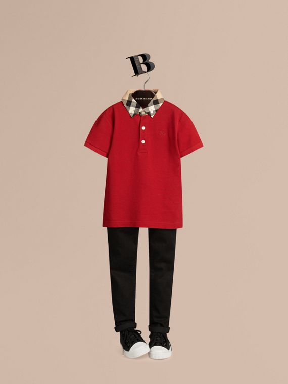 Check Collar Polo Shirt in Military Red