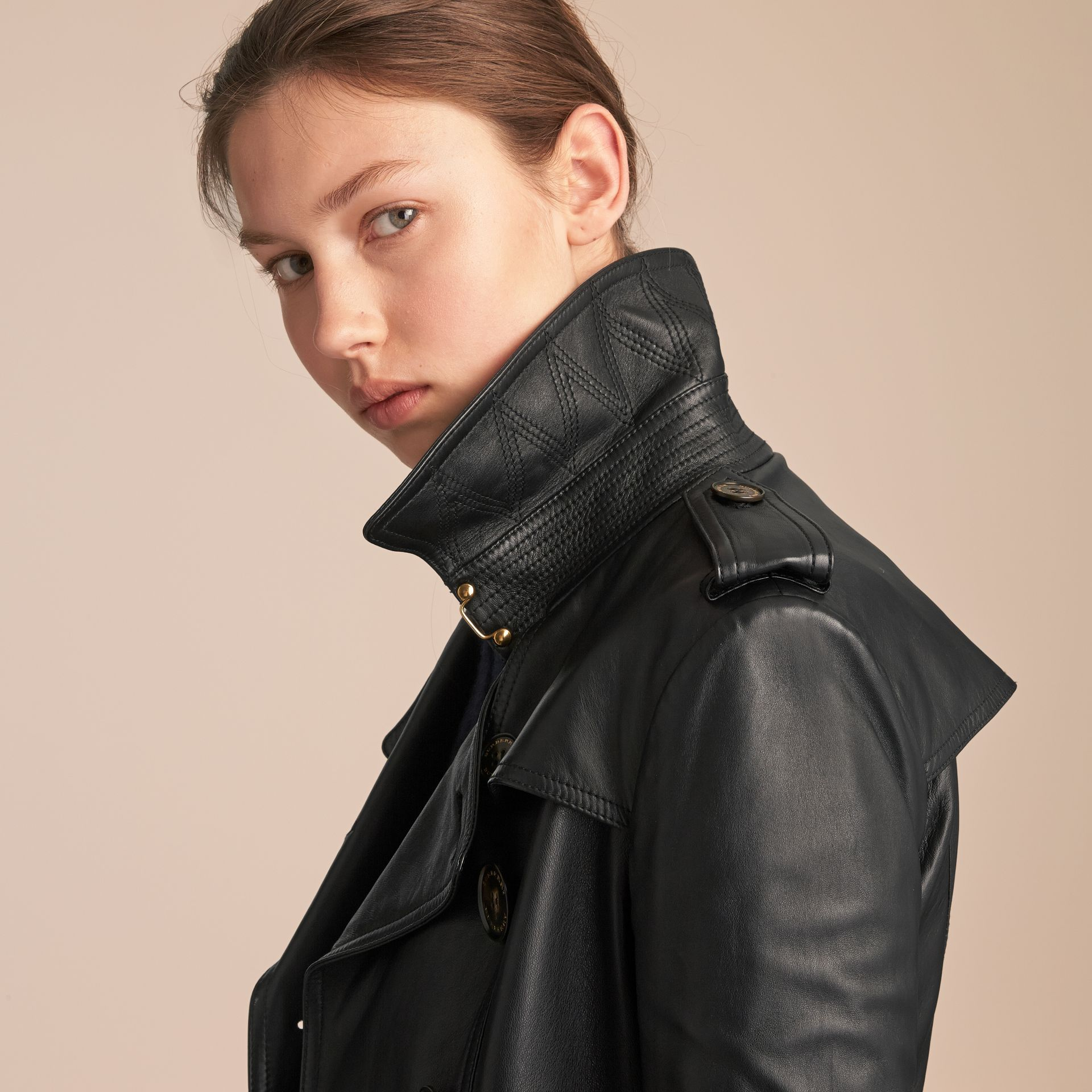 Lambskin Trench Coat in Black - Women | Burberry Australia - gallery image 6