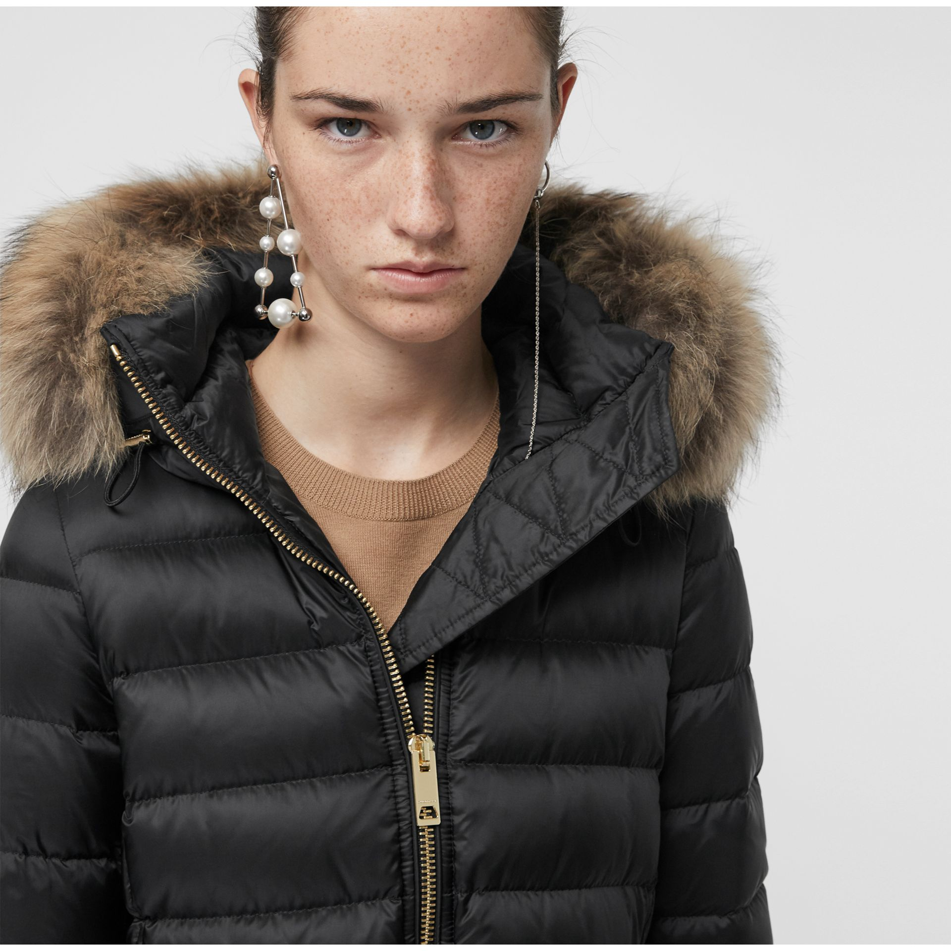 Detachable Fur Trim Down-filled Puffer Coat with Hood in Black - Women | Burberry United States - gallery image 1
