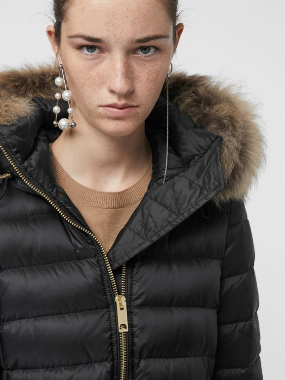 Detachable Fur Trim Down-filled Puffer Coat with Hood in Black - Women | Burberry - cell image 1