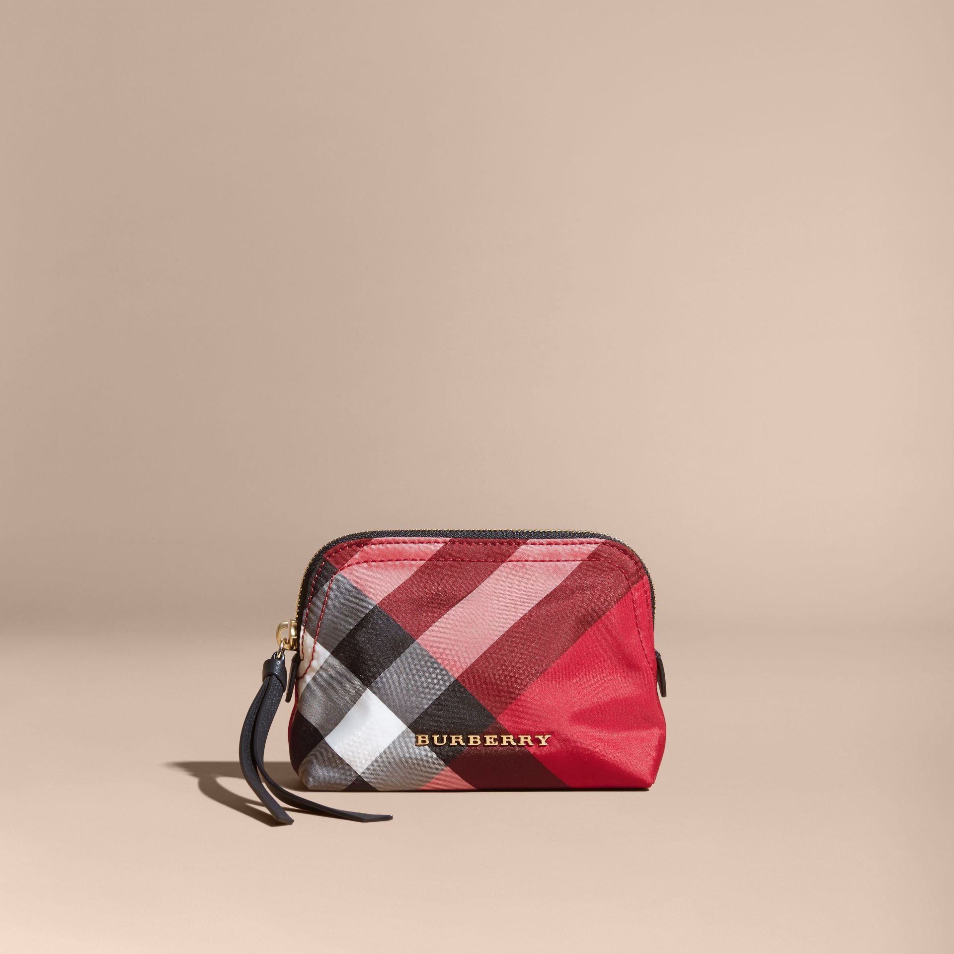 Small Zip-top Check Pouch in Parade Red - Women | Burberry - gallery image 5