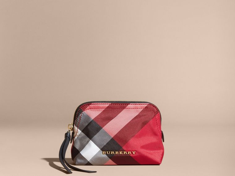 Small Zip-top Check Pouch in Parade Red - Women | Burberry - cell image 4