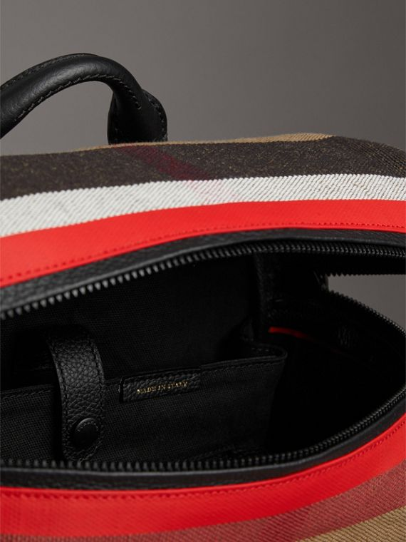 Zip-top Leather Trim Canvas Check Backpack in Military Red/camel - Men | Burberry United Kingdom - cell image 3