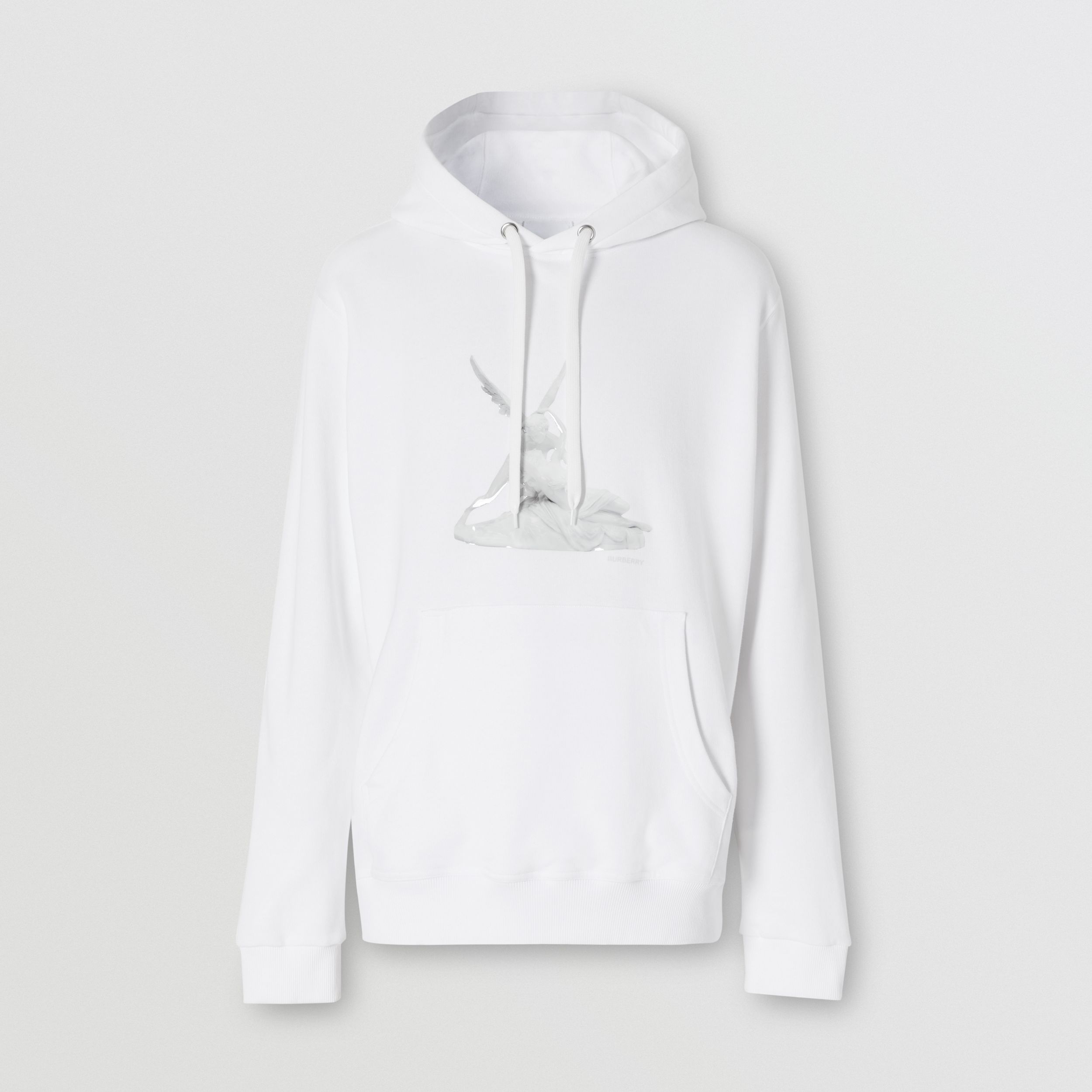 Cupid Print Cotton Oversized Hoodie in White - Men | Burberry - 4