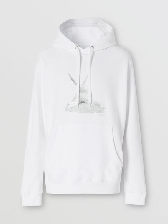 Cupid Print Cotton Oversized Hoodie in White