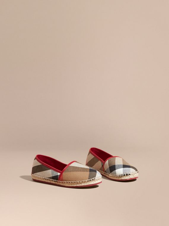 House Check Cotton Canvas Espadrilles in Berry Pink