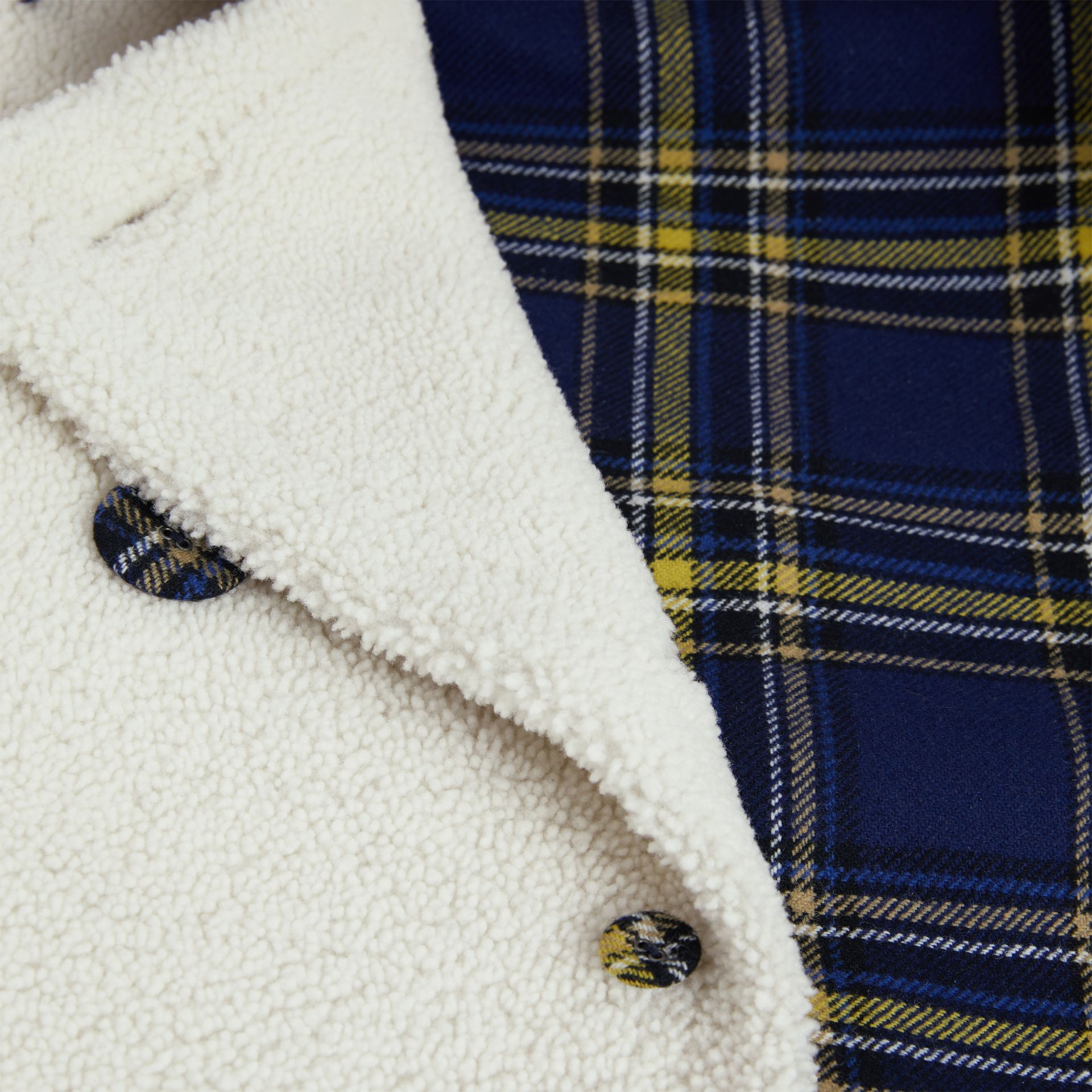 Tartan-lined Shearling Trench Coat in Off White - Women | Burberry - gallery image 7