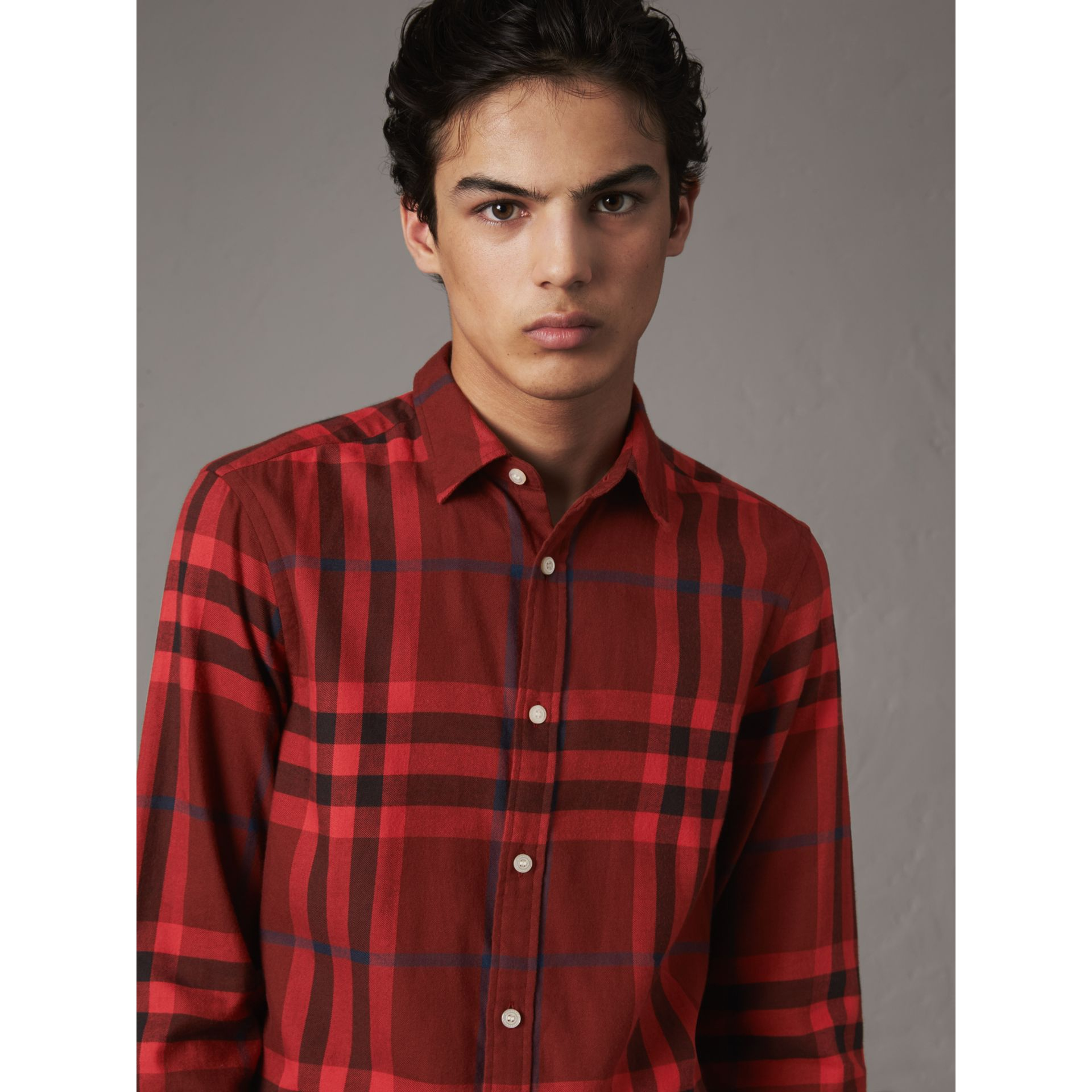 Check Cotton Flannel Shirt in Mahogany Red - Men | Burberry Canada - gallery image 1