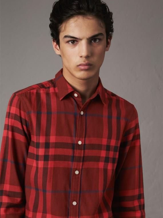 格紋棉質法蘭絨襯衫 (紅木色)