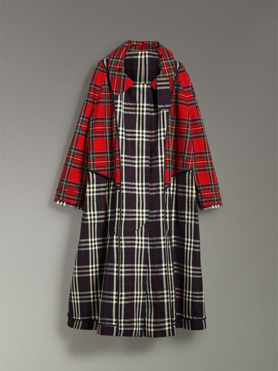 Check and Tartan Cotton Trench Coat in Navy - Women | Burberry United States - cell image 3