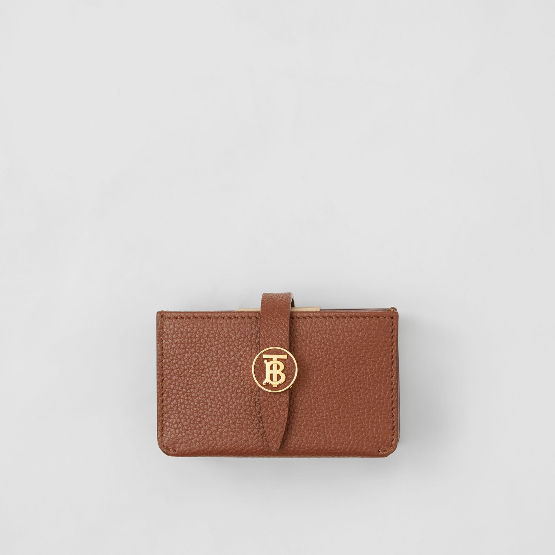 Monogram Motif Grainy Leather Card Case in Tan | Burberry - gallery image 0