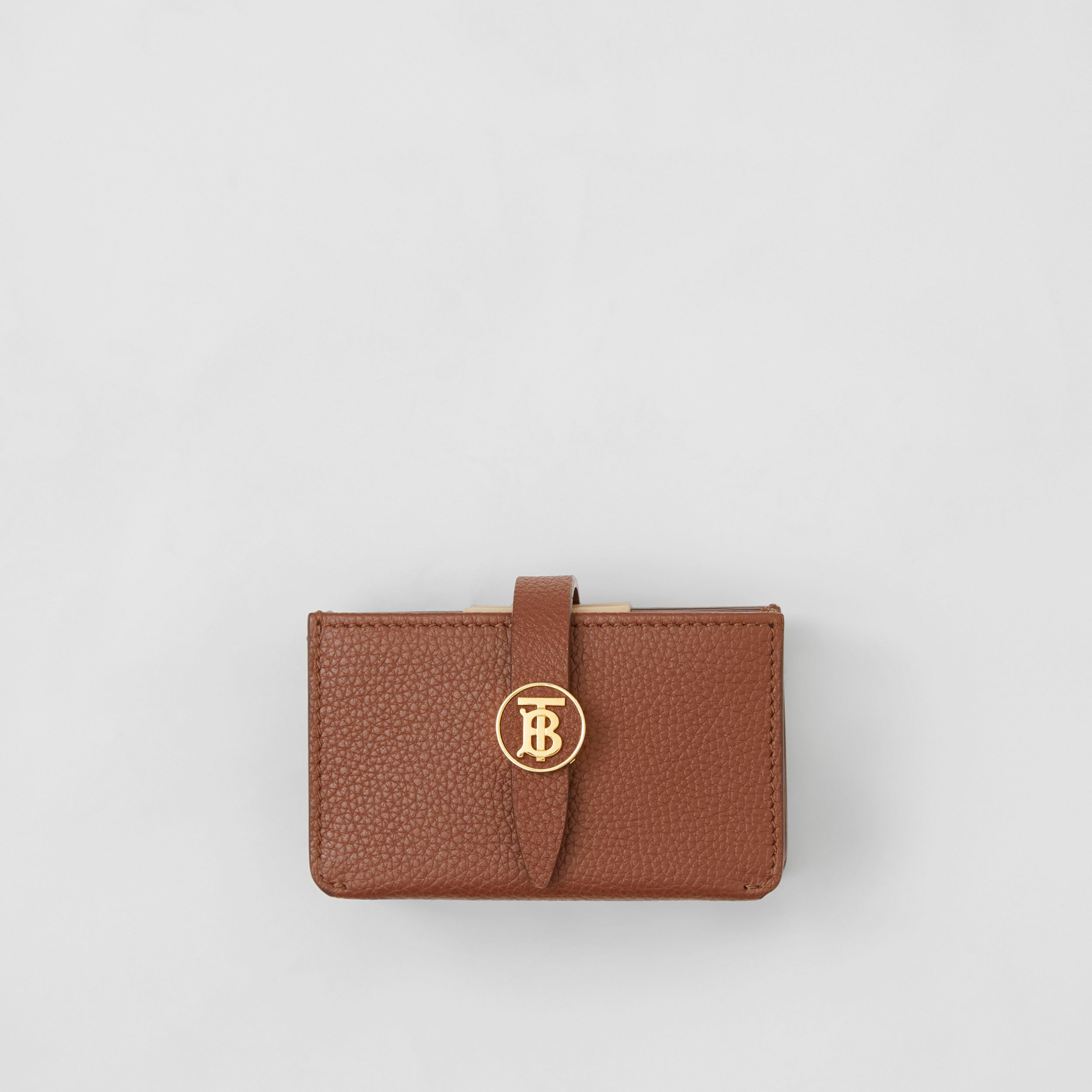 Monogram Motif Grainy Leather Card Case in Tan - Women | Burberry - 1