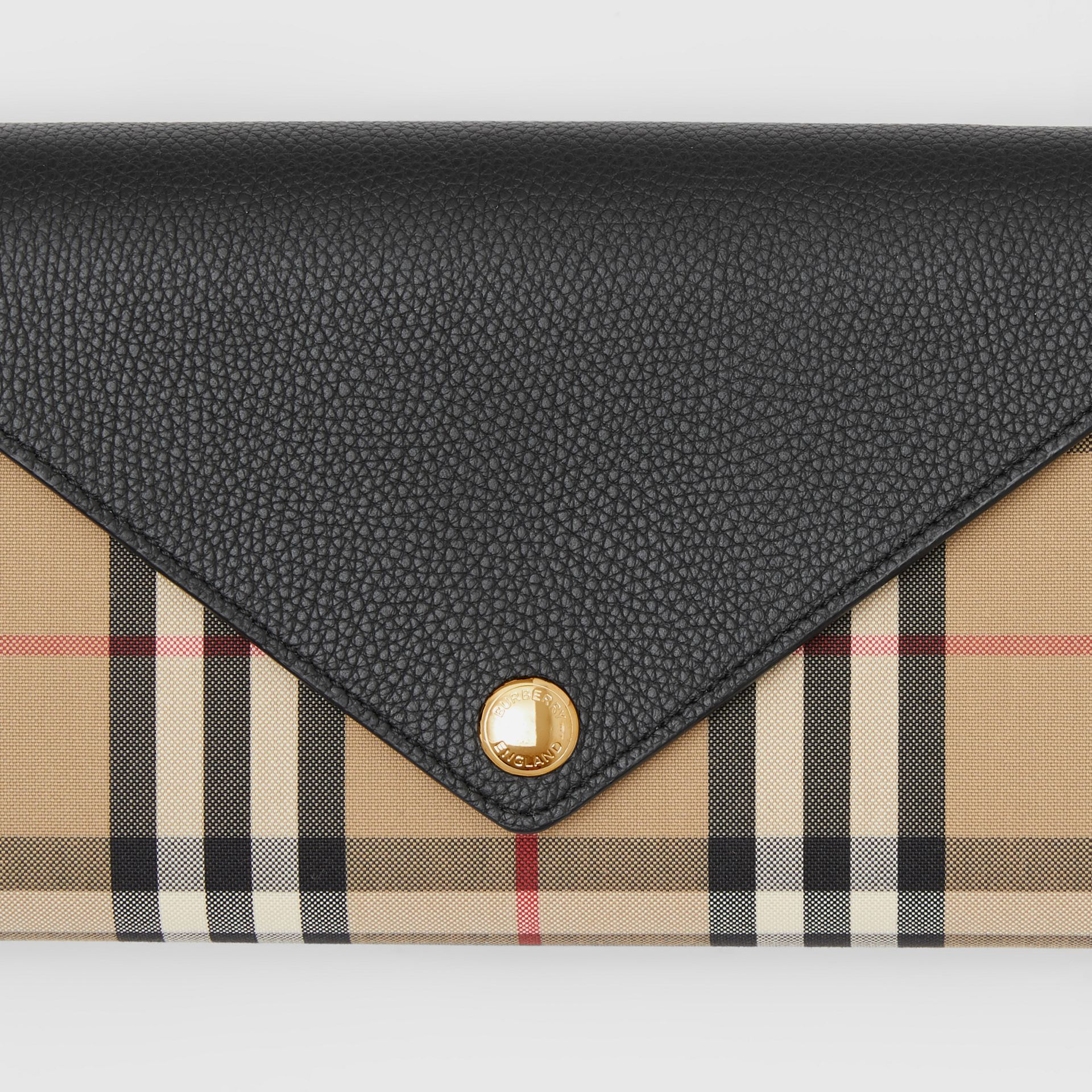 Vintage Check and Leather Wallet with Detachable Strap in Black - Women | Burberry - gallery image 1