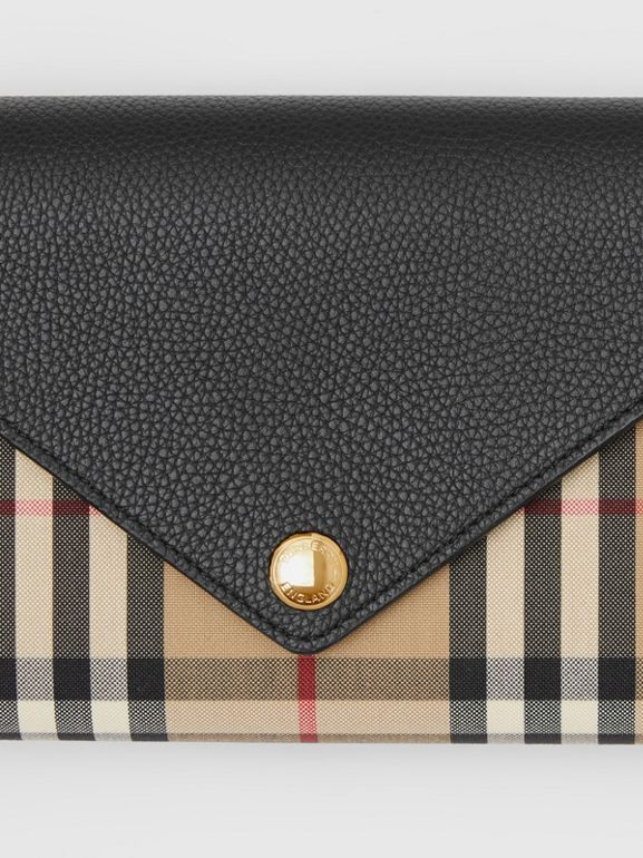 Vintage Check and Leather Wallet with Detachable Strap in Black - Women | Burberry - cell image 1