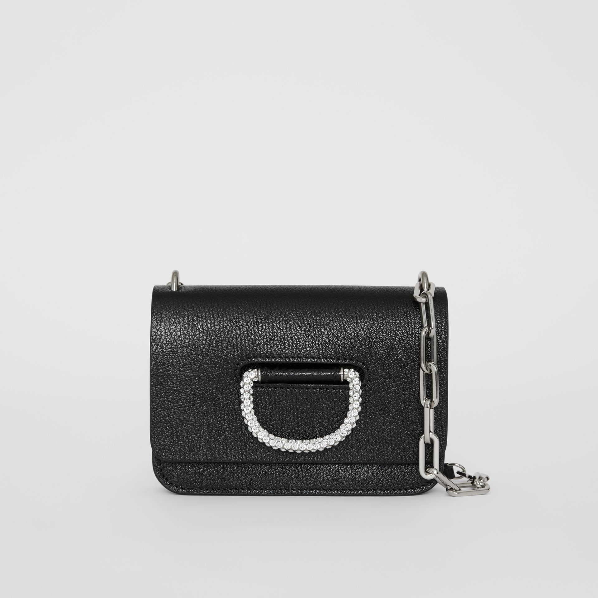 Borsa The D-ring mini in pelle con cristalli (Nero) - Donna | Burberry - immagine della galleria 0