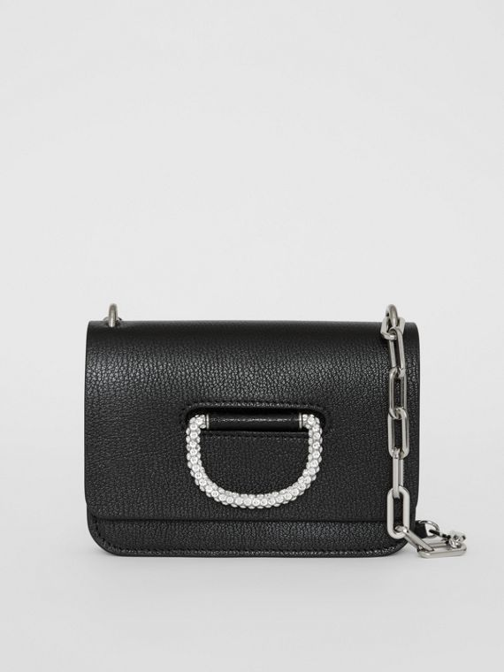 Borsa The D-ring mini in pelle con cristalli (Nero)