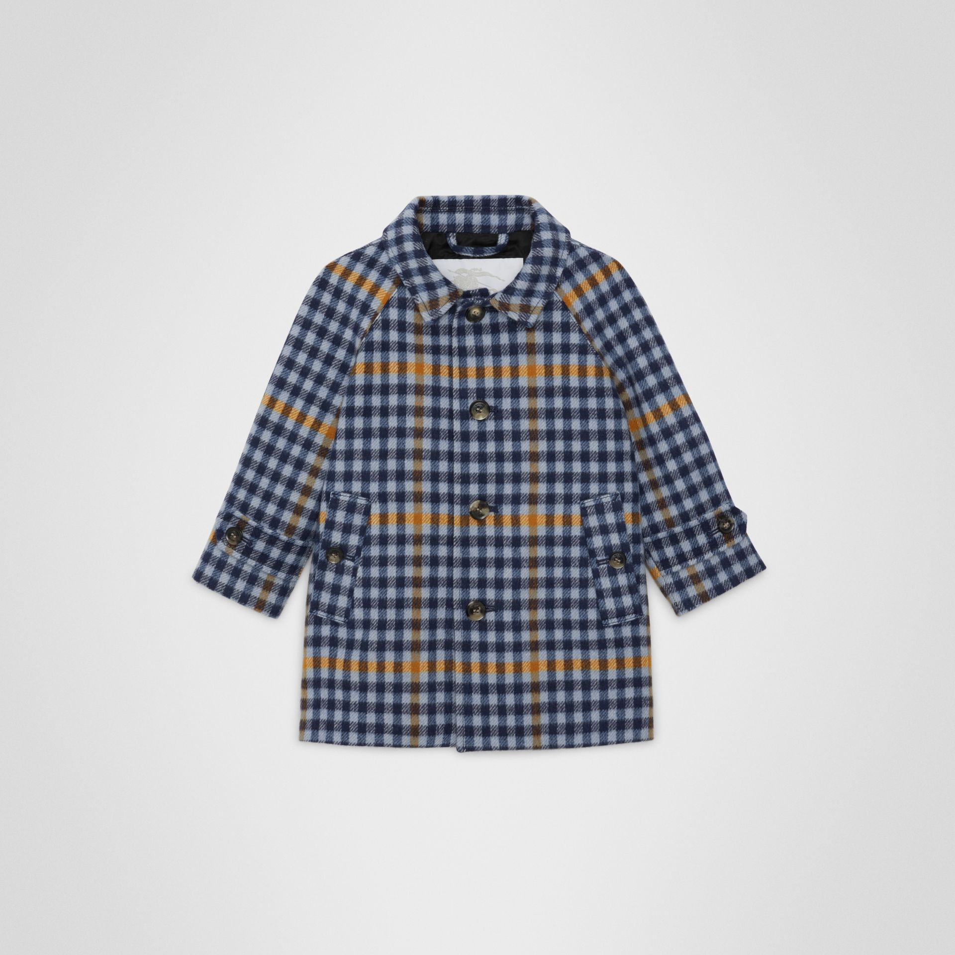 Check Wool Car Coat in Canvas Blue - Children | Burberry United Kingdom - gallery image 0