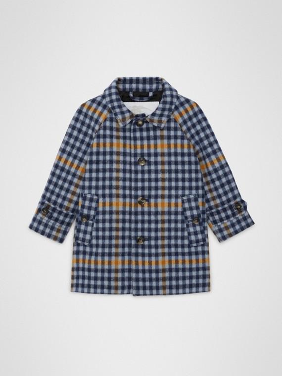 Paletot en laine à motif check (Bleu Toile)