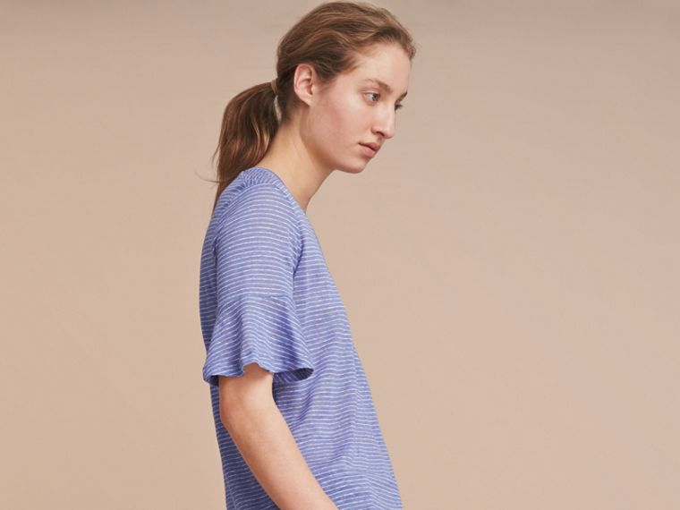 Bell-sleeve Check Detail Striped Linen T-shirt in Pale Blue/white - cell image 4