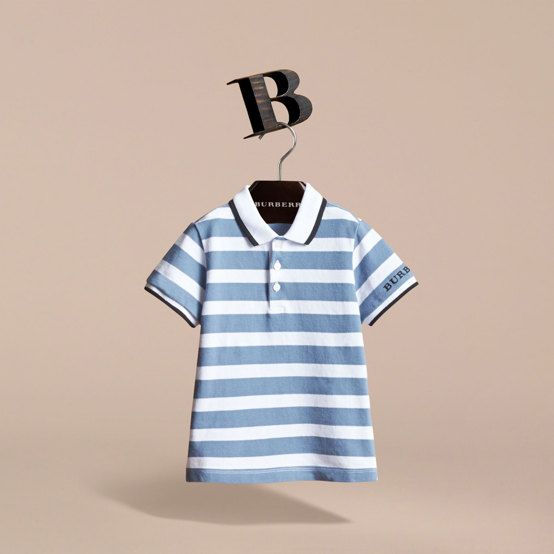 Striped Cotton Polo Shirt in Slate Blue - Children | Burberry - gallery image 3
