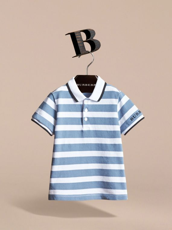 Striped Cotton Polo Shirt in Slate Blue - Children | Burberry - cell image 2