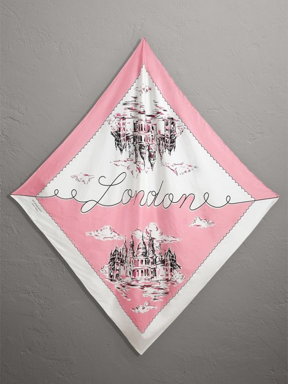 London Print Silk Square Scarf in Rose Pink