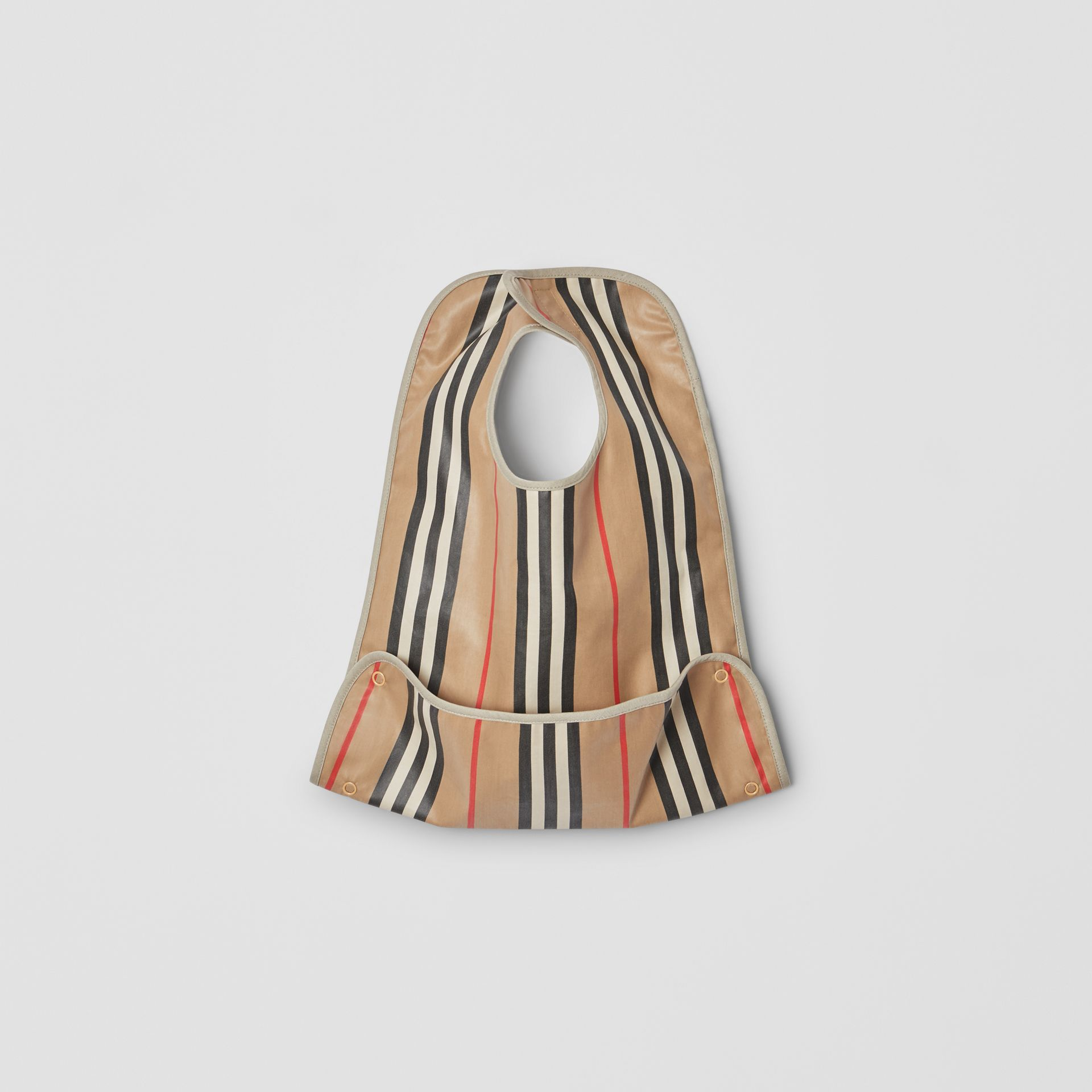 Coated Icon Stripe Cotton Baby Bib in Archive Beige - Children | Burberry United Kingdom - gallery image 0