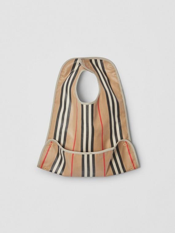 塗層標誌性條紋棉質嬰兒圍兜 (典藏米色)