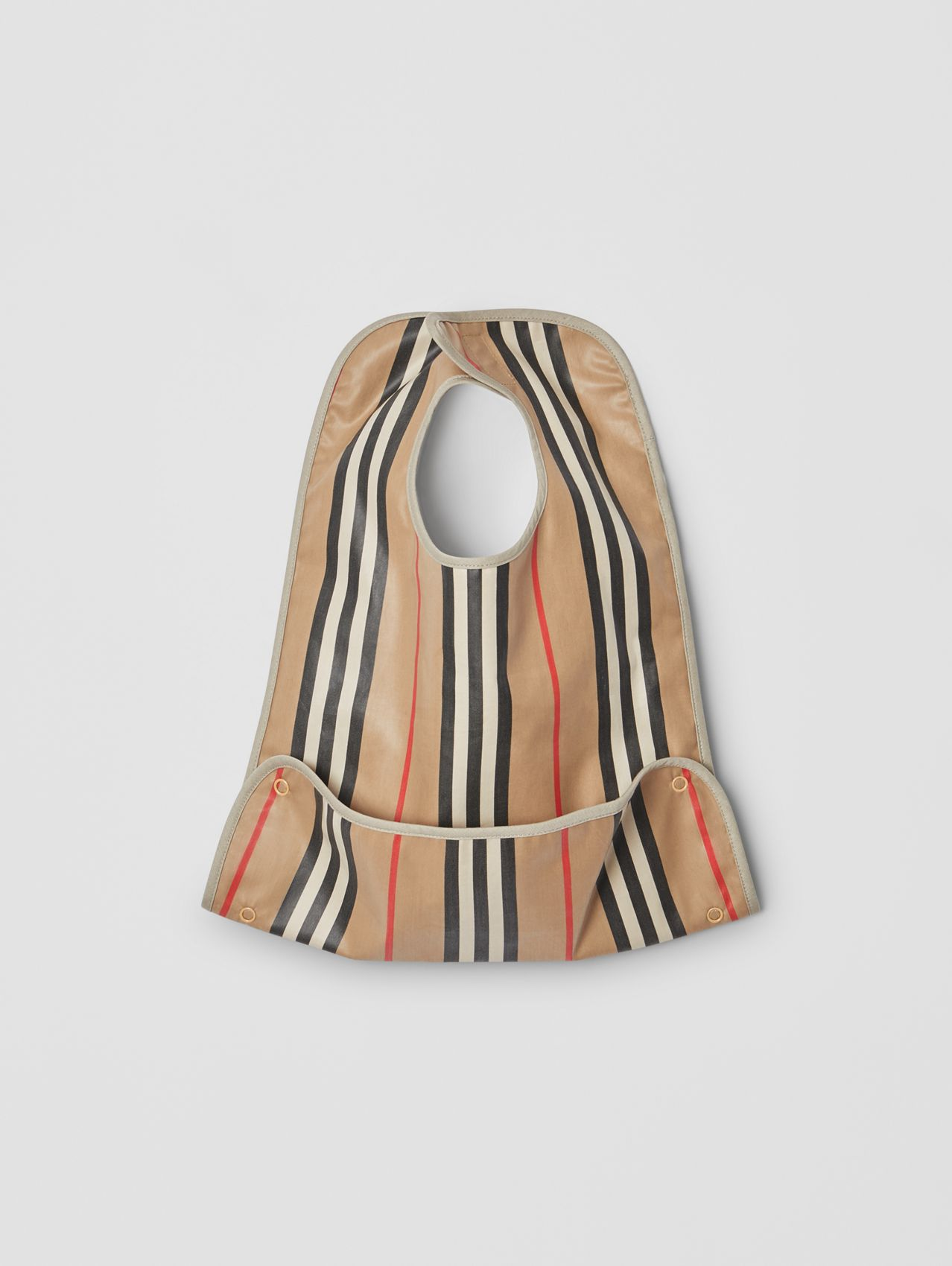 Coated Icon Stripe Cotton Baby Bib in Archive Beige