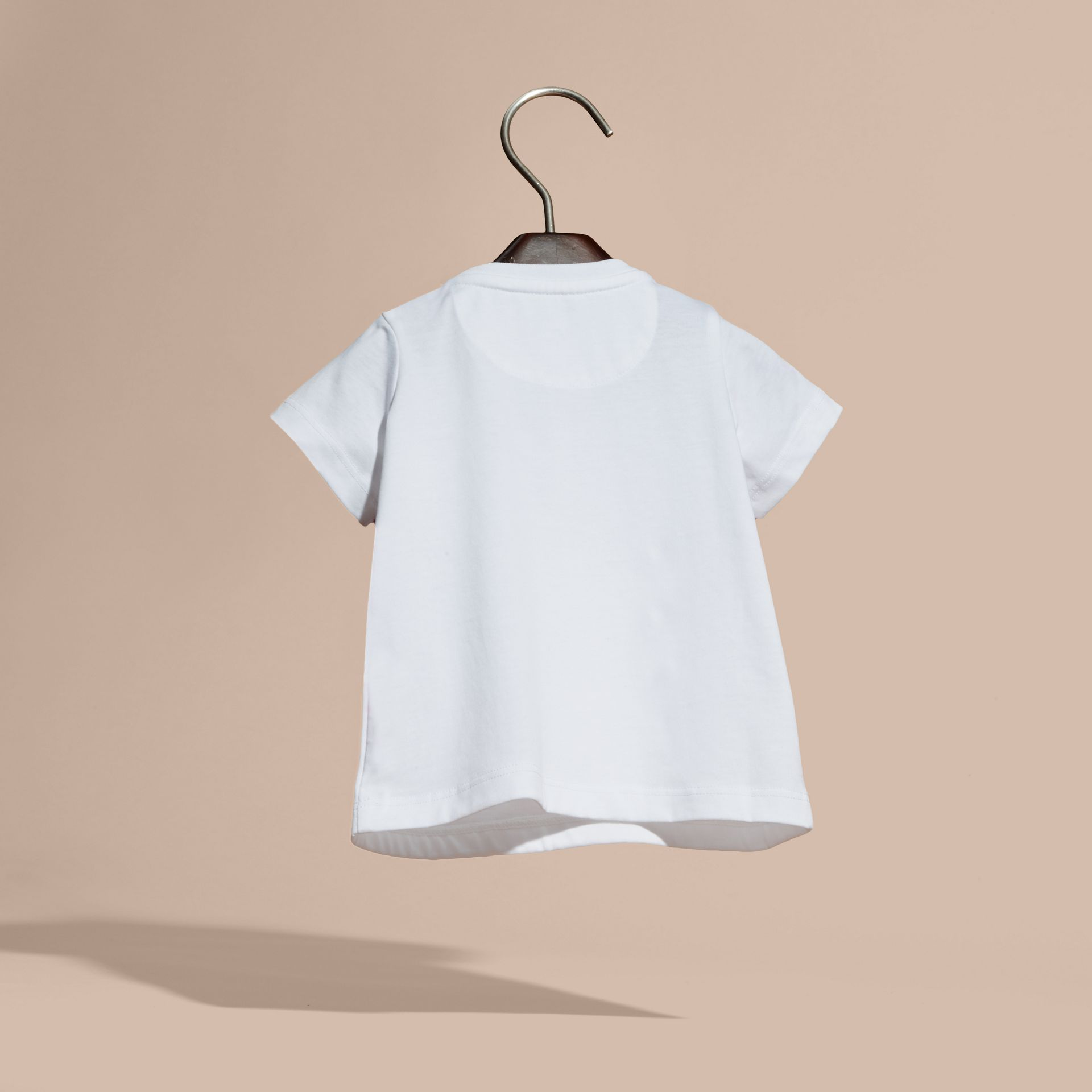 White Appliquéd and Embroidered Weather Graphic Cotton T-Shirt - gallery image 4