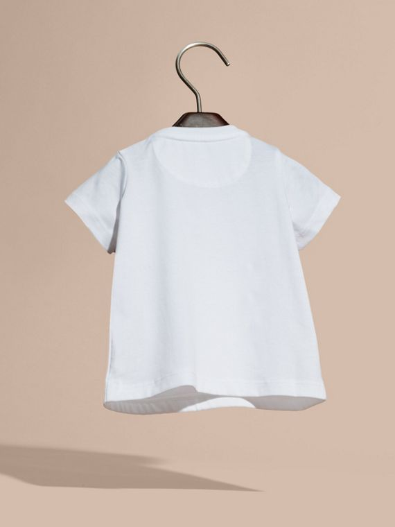 White Appliquéd and Embroidered Weather Graphic Cotton T-Shirt - cell image 3
