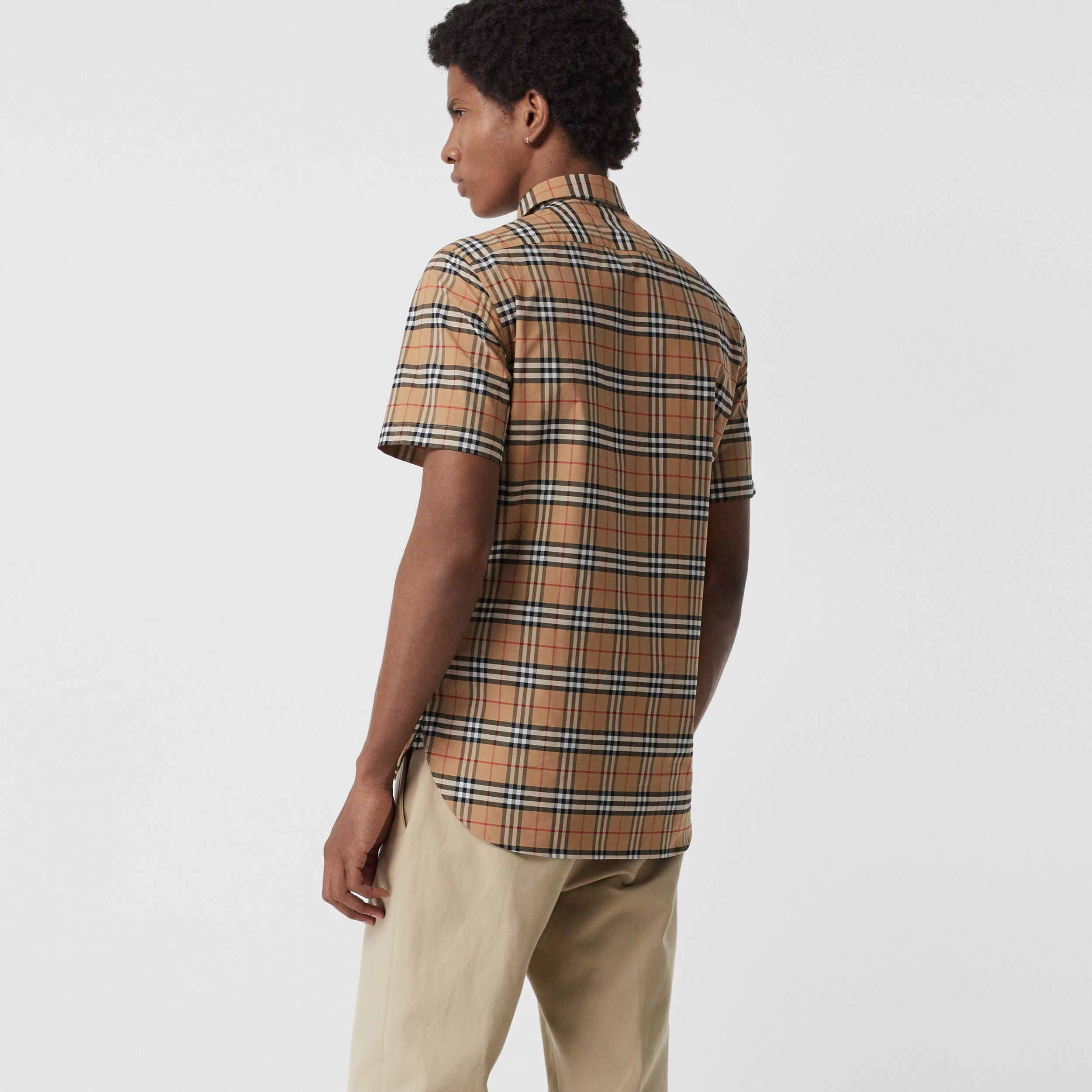 Short-sleeve Check Stretch Cotton Shirt in Camel - Men | Burberry Australia - 3