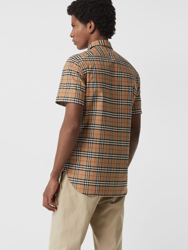 Short-sleeve Check Stretch Cotton Shirt in Camel - Men | Burberry Hong Kong - cell image 2