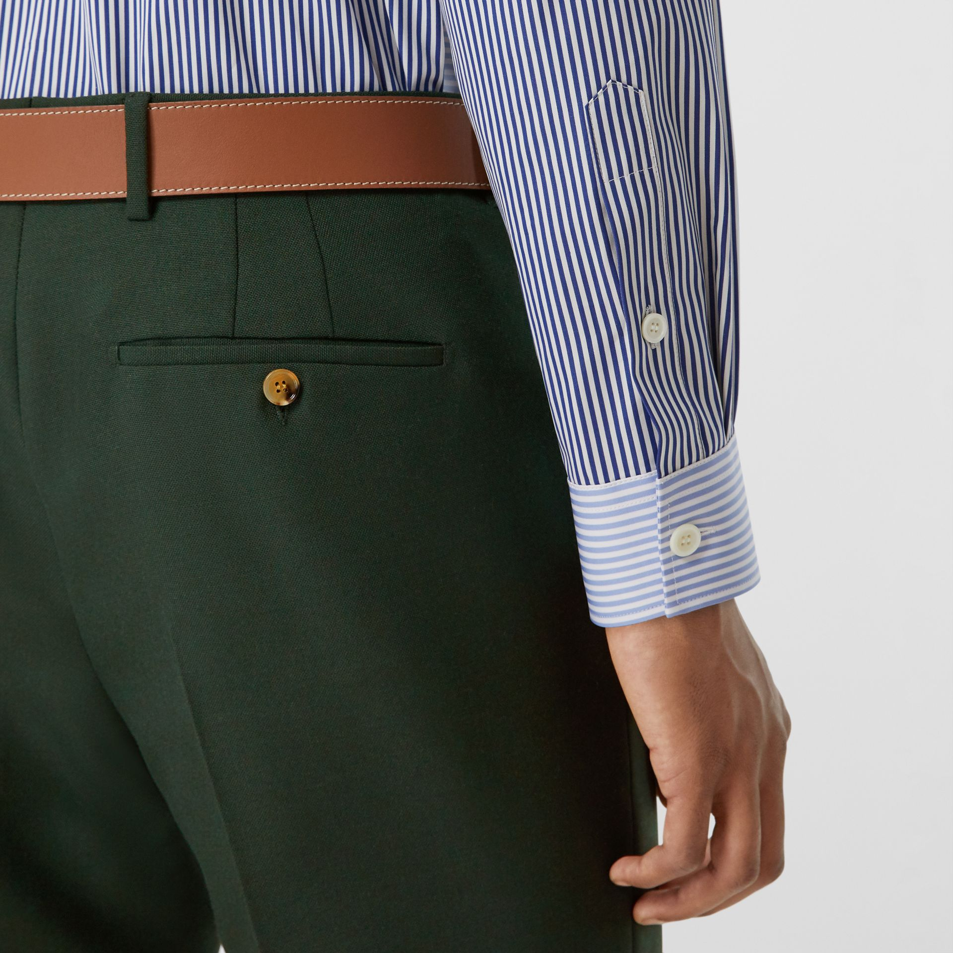 Classic Fit Wool Mohair Tailored Trousers in Dark Forest Green - Men | Burberry - gallery image 1