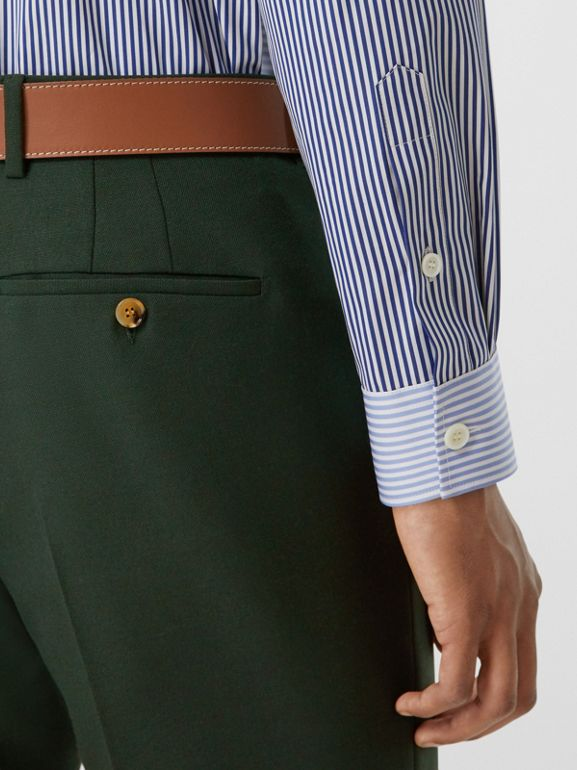 Classic Fit Wool Mohair Tailored Trousers in Dark Forest Green - Men | Burberry United Kingdom - cell image 1
