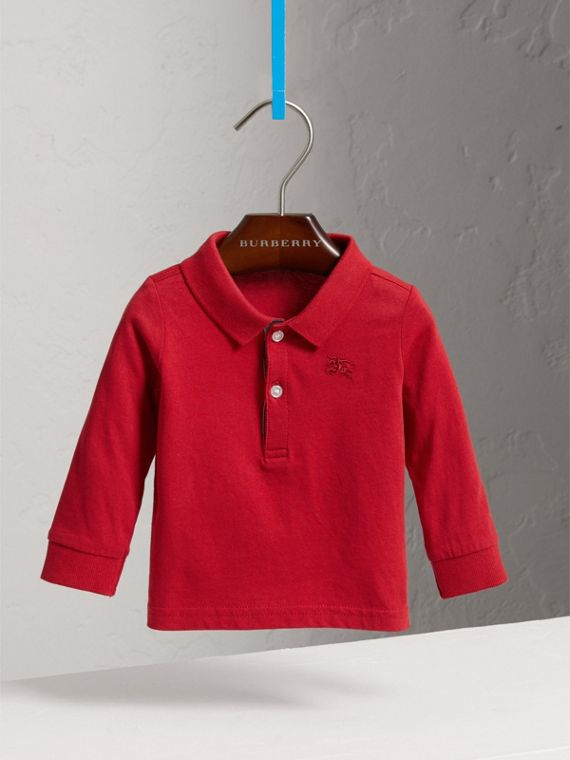 Check Trim Long-sleeved Cotton Polo Shirt in Military Red | Burberry United Kingdom - cell image 2