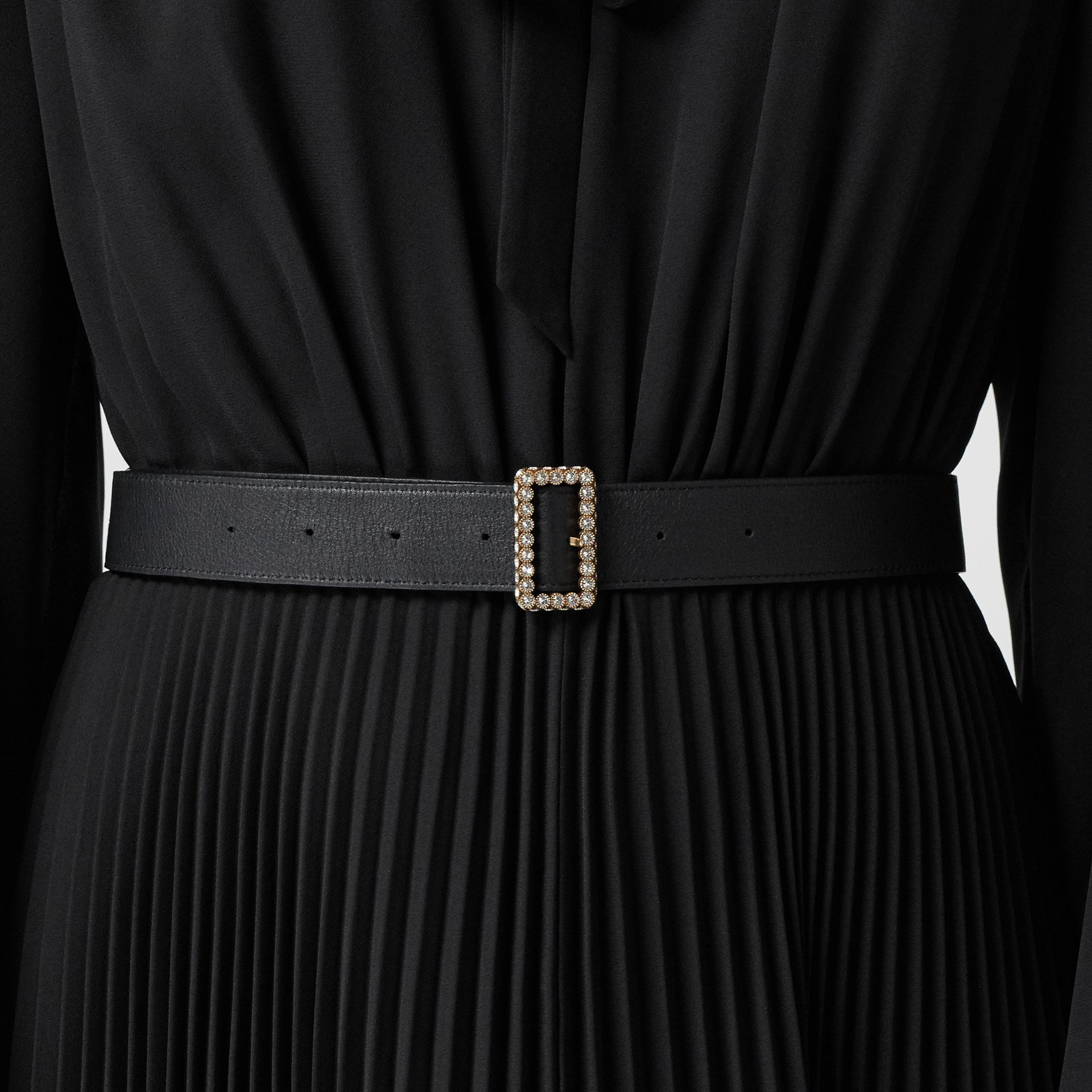 Leather Belt with Crystal Buckle in Black - Women | Burberry - gallery image 2