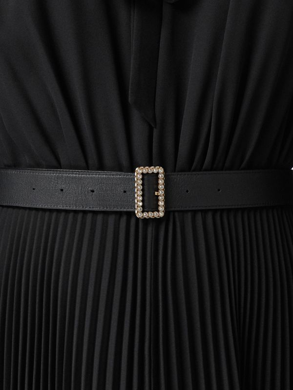 Leather Belt with Crystal Buckle in Black - Women | Burberry Australia - cell image 2