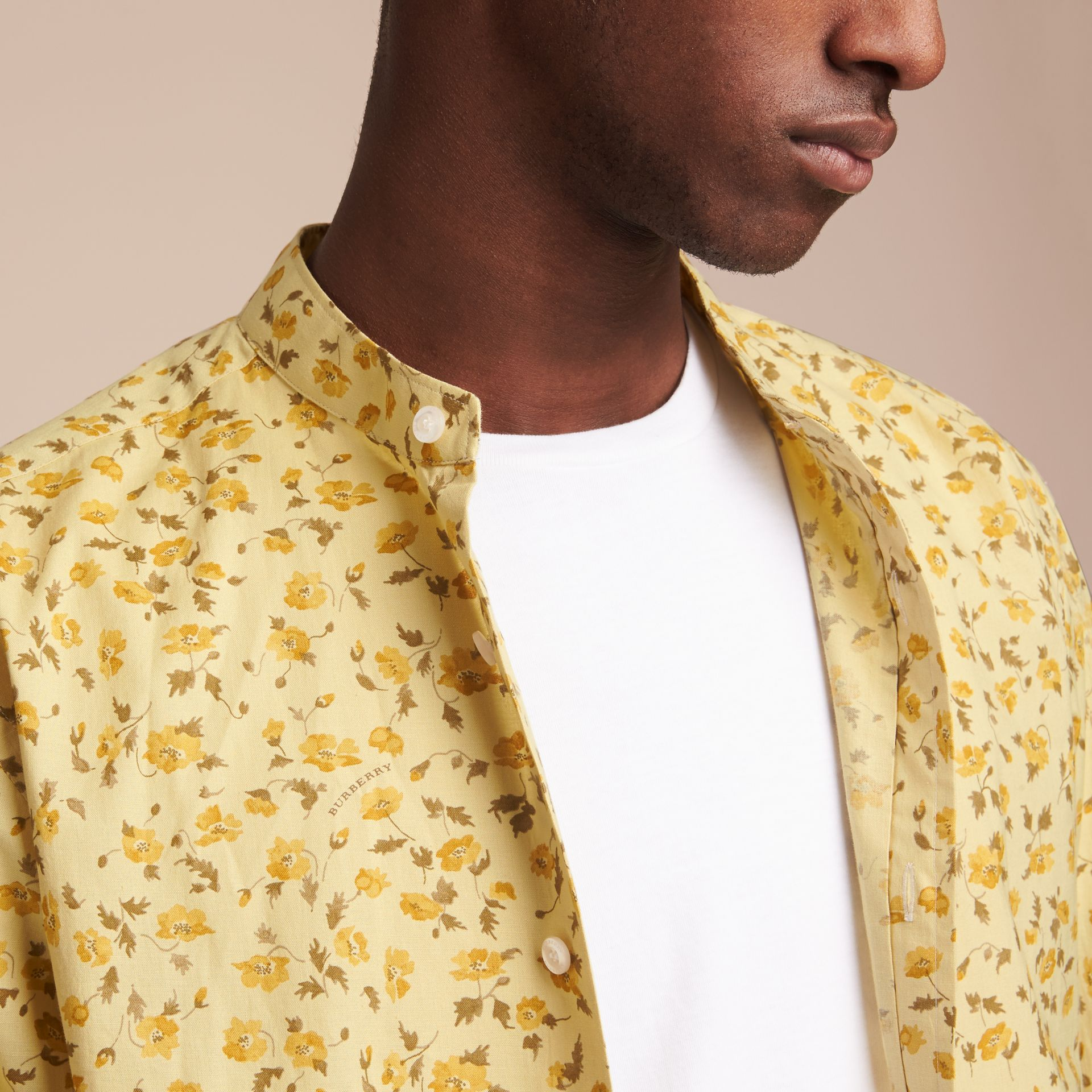 Grandad Collar Floral Print Cotton Poplin Shirt in Chalk Yellow - Men | Burberry - gallery image 5