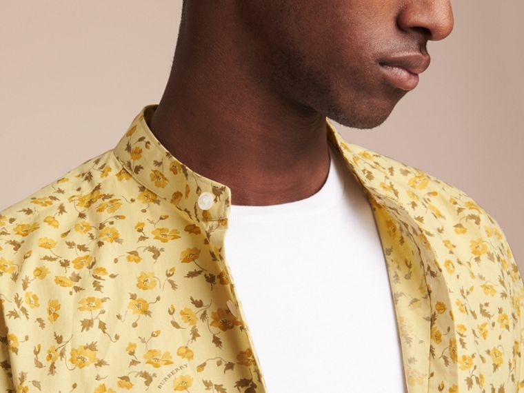 Grandad Collar Floral Print Cotton Poplin Shirt in Chalk Yellow - Men | Burberry - cell image 4