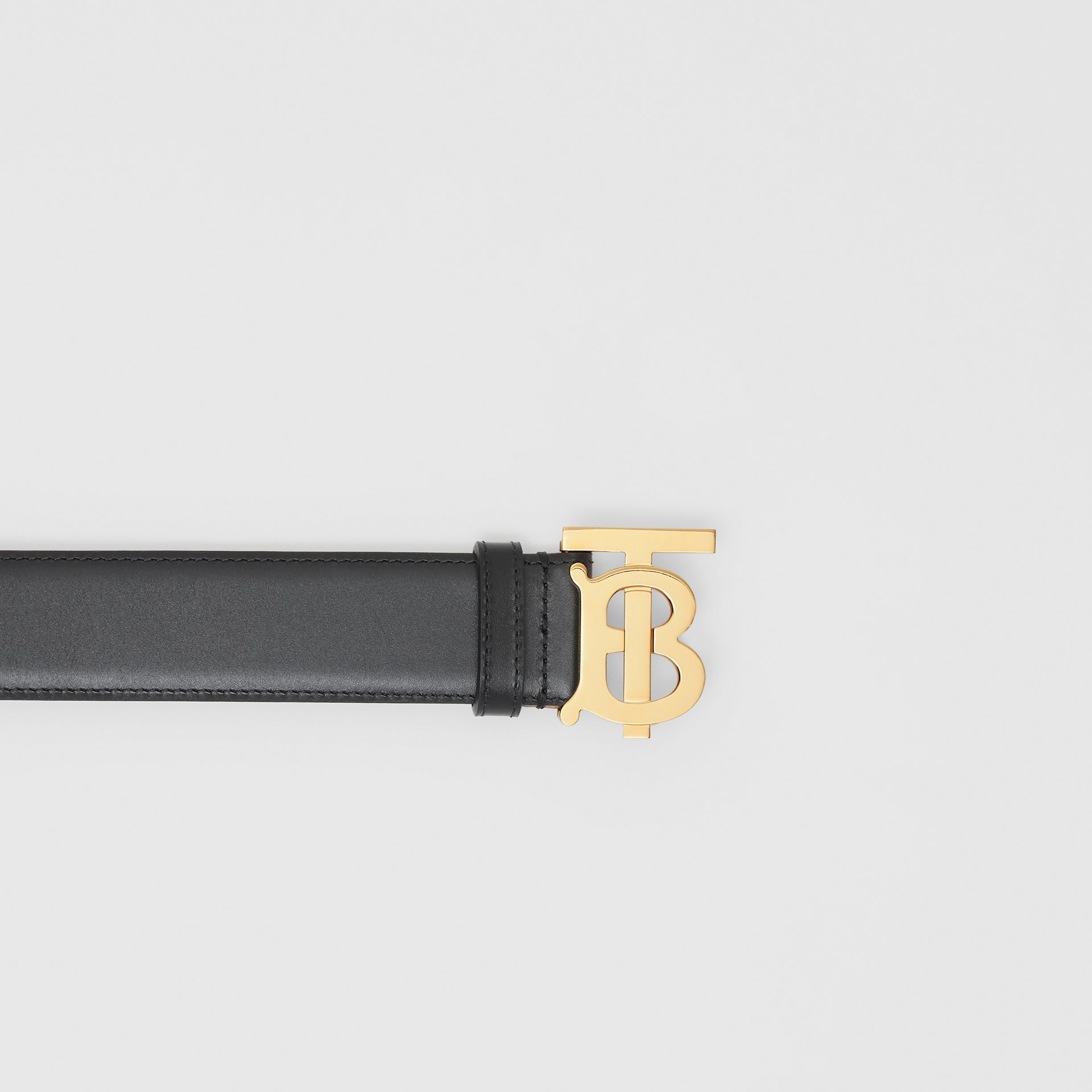 Monogram Motif Leather Belt in Black - Women | Burberry United Kingdom - gallery image 1