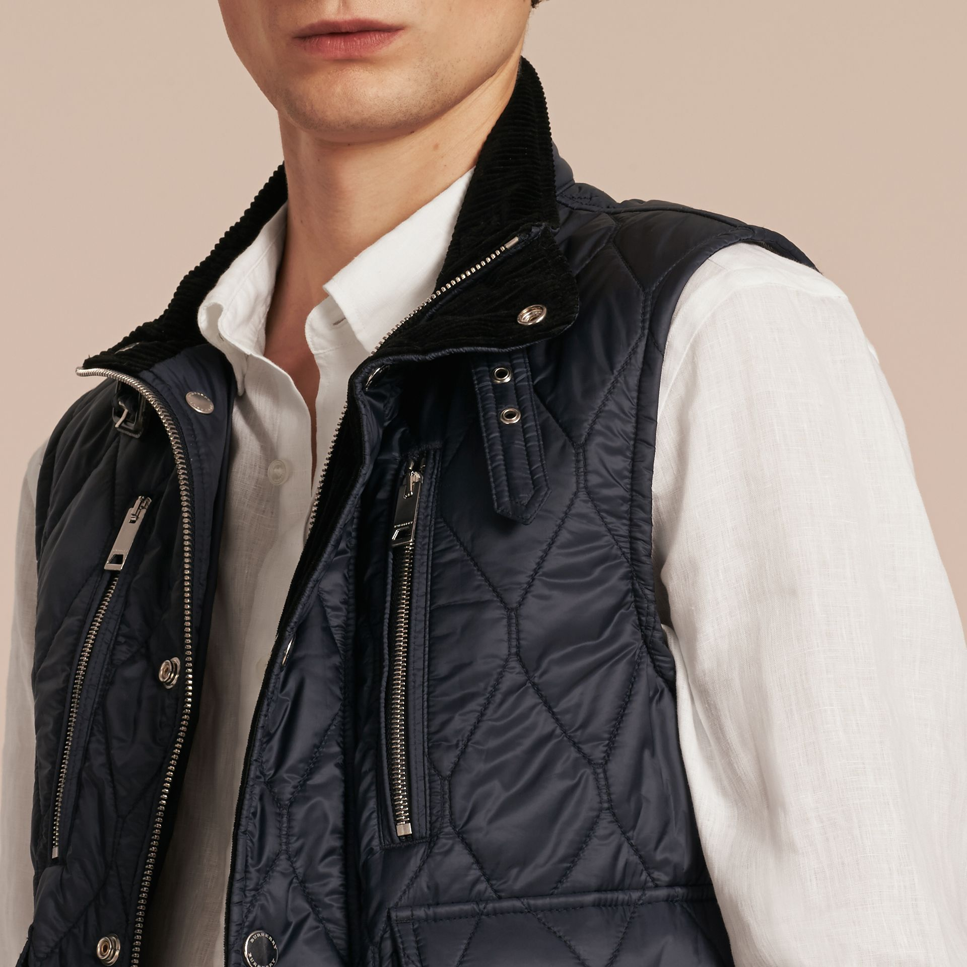 Navy Multi-Pocket Diamond Quilted Gilet Navy - gallery image 5