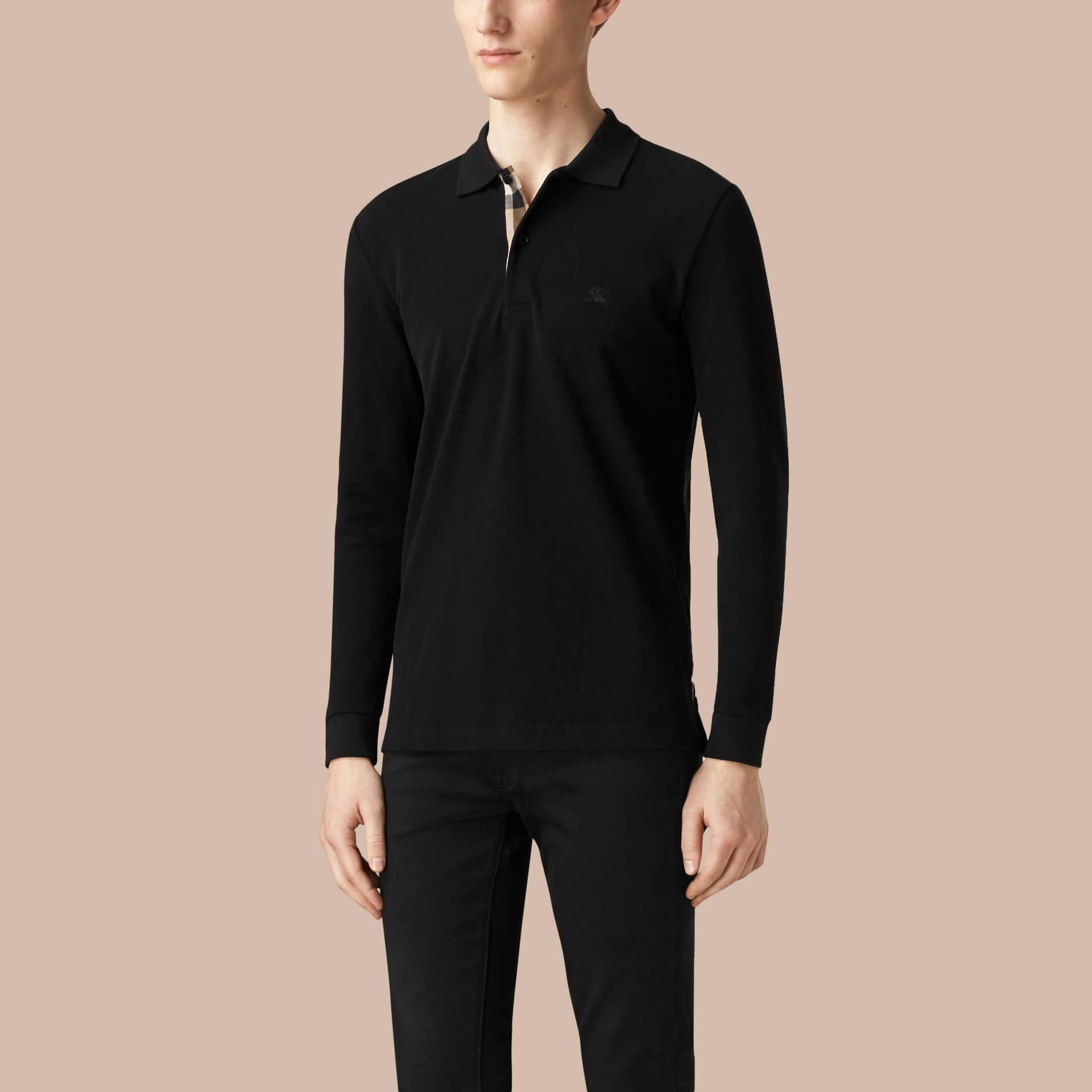 Check Placket Long Sleeve Polo Shirt in Black - gallery image 3