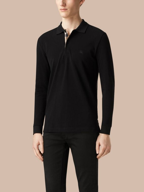 Check Placket Long Sleeve Polo Shirt in Black - Men | Burberry - cell image 2