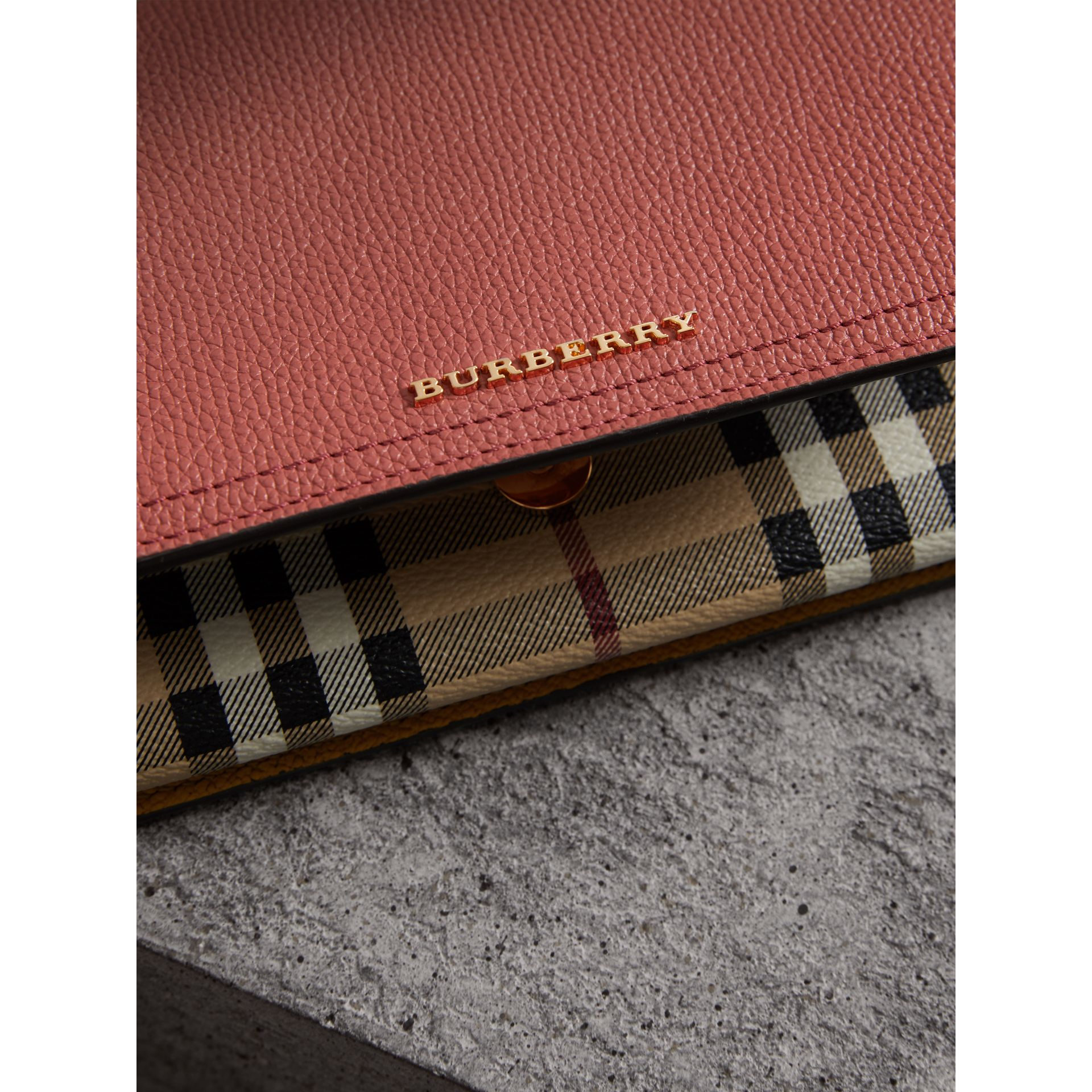 Leather and Haymarket Check Wristlet Wallet in Cinnamon Red/multicolour - Women | Burberry - gallery image 2