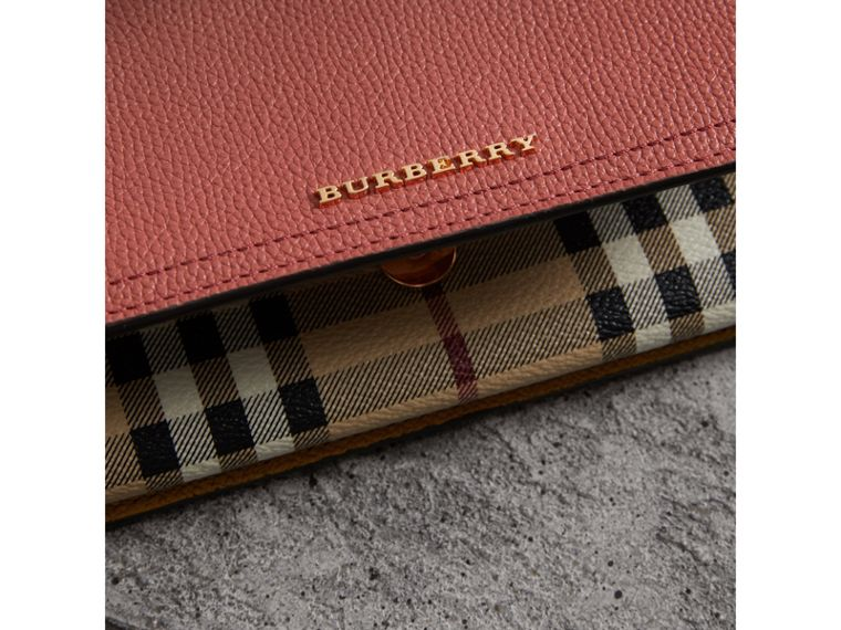 Leather and Haymarket Check Wristlet Wallet in Cinnamon Red/multicolour - Women | Burberry - cell image 1