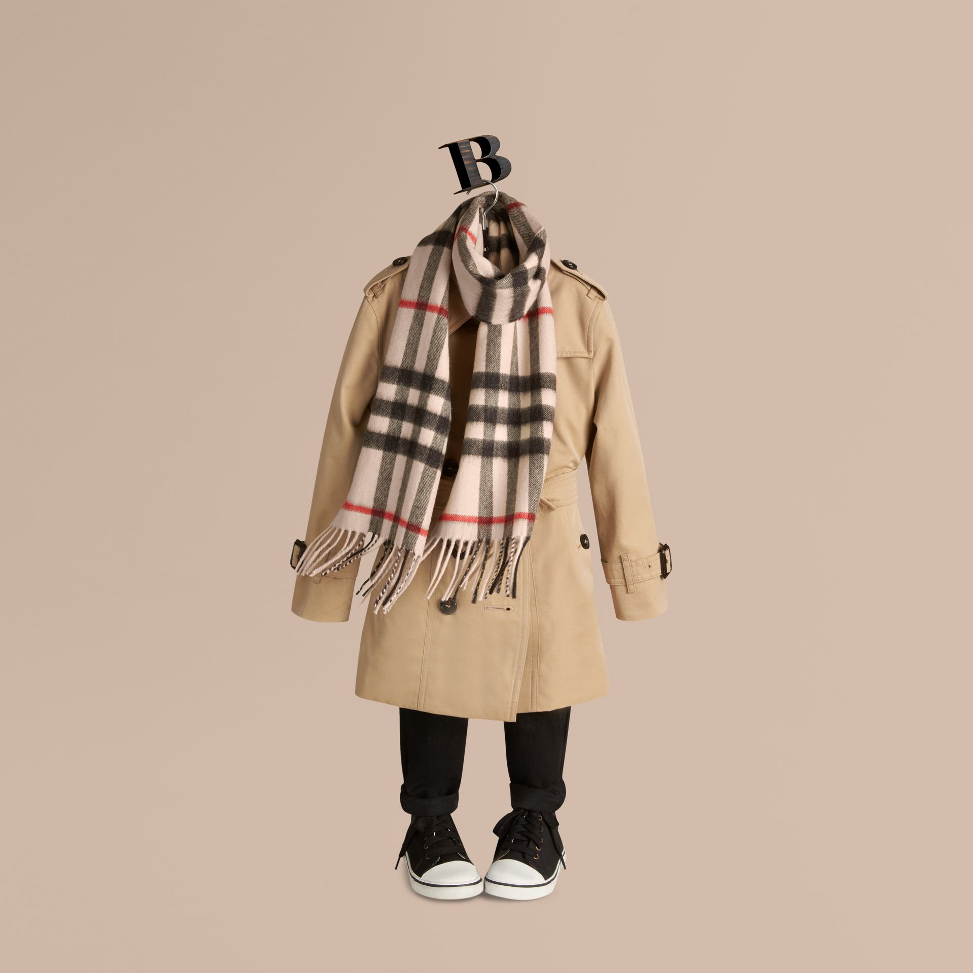 The Mini Classic Cashmere Scarf in Check in Stone - gallery image 3