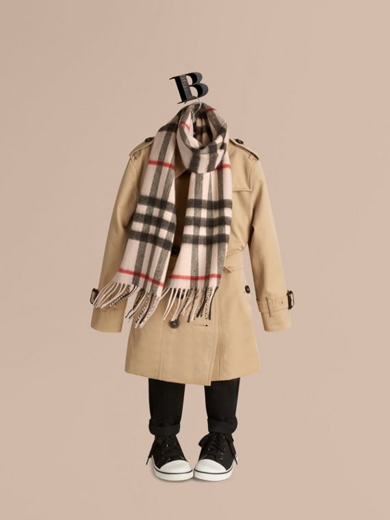 The Mini Classic Check Cashmere Scarf in Stone | Burberry United Kingdom - cell image 2